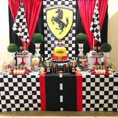 Mini Party super fofa com tema Ferrari! Reposted from ( - Celebrating Simon's birthday at the Ferrari race track! Car Themed Parties, 10th Birthday Parties, Birthday Party Themes, Birthday Cake, Ferrari Party, Ferrari F40, Ferrari Logo, Hot Wheels Birthday, Formula 1