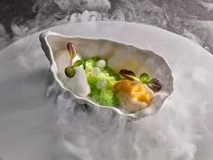 Warm Pickled Oyster with Iced Cucumber, K5 Txakoli Wine and Spicy Apple Foam- By Chef Martin Berasategui