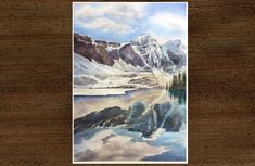 Original Watercolor landscape painting, mountain painting, winter scene Lac Moraine, Watercolor Landscape Paintings, Watercolour, Parc National De Banff, Mountain Paintings, Winter Scenes, Photos, Pictures, Etsy