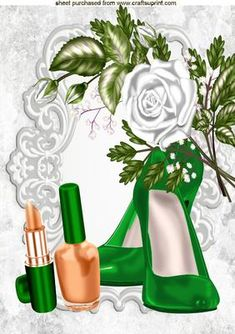 PRETTY EMERALD SHOES AND MAKEUP WITH WHITE ROSES A4 on Craftsuprint - Add To Basket!