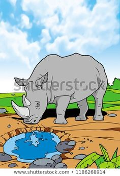 Rhinoceros Mammals Animal Illustration with smooth graphics and full coloring. So that the illustration of this Rhinoceros animals will be interesting when used as an image of supporting material, or to be seen. African Image, Rhinoceros, Mammals, Smurfs, Royalty Free Stock Photos, Coloring, Smooth, Graphics, Animal