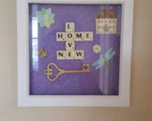 Deep box frame, with scrabble art & embellishments. Beautiful gift for any occasion, available in various themes, personalized to suit.