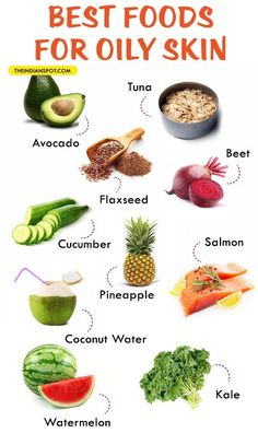 Foods That Prevent Oily Skin – What To Eat If You Have Oily Skin - - Care - Skin care , beauty ideas and skin care tips Foods For Healthy Skin, Healthy Tips, Healthy Snacks, Healthy Eating, Healthy Recipes, Food Good For Skin, Best Foods For Skin, Oily Skin Remedy, Oily Skin Care
