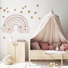 The Glitter Rainbow wall decal is a touch of sparkly magic for a Nursery or child's bedroom! Removable and easy to apply!