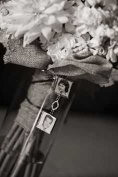soldered photo ornaments affixed to the bride's bouquet in memory of her deceased grandparents (no link)