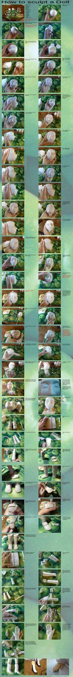 How to sculpt a doll-tutorial- by ~Hamkaastostie on deviantART  clay over styrofoam: