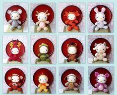 12 ZodiacGurumi Crochet Amigurumi Patterns - Kitty version by ZodiacGurumi.etsy.