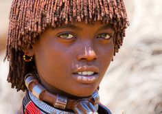 Africa |  Hamer woman photographed in Karo village, Ethiopia |  ©  markopolo@bcn, via Flickr