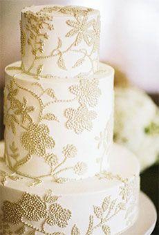 Three-Tier Buttercream Wedding Cake with Lace Pattern   Wedding Cake