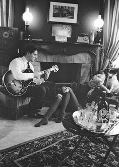 Brigitte Bardot and boyfriend Sacha Distel in her Paris apartment, 1958