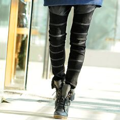 SOHO Central  Faux Leather Panel Studded Skinny Pants