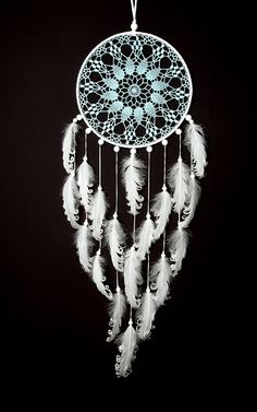 Large Light Blue White Dream Catcher Wedding by DreamcatchersUA