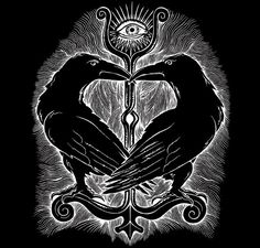 "In Norse mythology, Huginn (from Old Norse ""thought"") and Muninn (Old Norse ""memory"" or ""mind"") are a pair of ravens that fly all over the world, Midgard, and bring information to the god Odin. I like the idea of raven spies Viking Art, Norse, Folk Art, Raven Tattoo, Vikings, Asatru, Maori Tattoo, Art, Mythology"