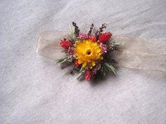 Wrist corsage  handmade dried flowers bridal  by FlowerDecoupage