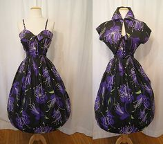 Atomic 1950s black purple and green floral print cotton new look day dress with matching bolero tiki pin up girl summer - size Medium. $250.00, via Etsy.