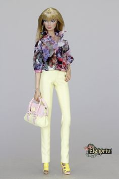 ELENPRIV Pale yellow leather pants for Fashion royalty 2 FR2 NuFace and similar body size dolls.