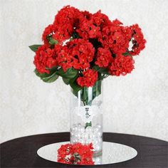 Red Artificial Hydrangea Bush Wedding Vase Centerpiece Floral Decor
