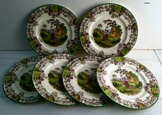 Vintage Copeland Spode England Spode's Byron Pattern Pastoral Brown Transferware 6 Plates. Dated 1934 Letter T (for August) by Littlemix on Etsy