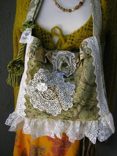 Victorian Gyspy Purse, velvet lace fabric bag, vintage doily, fou fou fancy baroque, handmade unique OOAK. $125.00, via Etsy.