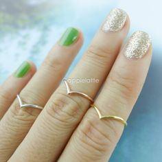 Chevron Ring Chevron knuckle ring in rose gold  and silver by applelatte, $8.80