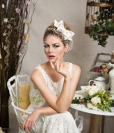 Cute Ivory bridal fasciantor, Wedding fascinator, wedding hat, birdcage veil, veil, bridal fascinator