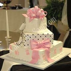 Cute cake for a baby girl shower.