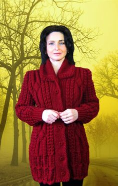 This Pin was discovered by Вир Cardigans For Women, Coats For Women, Jackets For Women, Aran Knitting Patterns, Easy Knitting, Crochet Coat, Knitted Coat, Cable Knit Cardigan, Cardigan Pattern