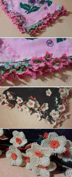 Two traditional 'oyalı yazma' (headscarves edged with Turkish lace) from Kozak Yaylası, near Bergama.  Ca. mid-20th century.  Printed cotton fabrics.  (Source: Tekin Uludoğan, Balıkesir).