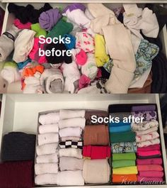 socks before and after with Konmari Method