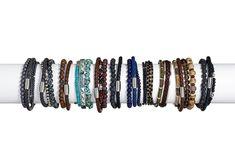 UK Men Ladies Surfer Beach Style Beaded Leather Stack Multi Bracelet for Guys