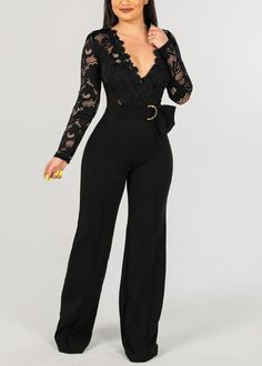 Women's Junior Ladies Sexy Hot Trendy Night Out Clubwear Long Sleeve Partial Floral Lace V Neckline Solid Black Wide Legged Jumper Jumpsuit Blue Jumpsuits, Jumpsuits For Women, Classy Outfits, Cute Outfits, Black Jumpsuit, Floral Jumpsuit, Backless Jumpsuit, Plus Size Jumpsuit, Strapless Jumpsuit