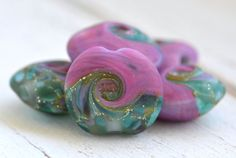 emerald isle and pinkish purple lentil shaped by kreationsbykarenk