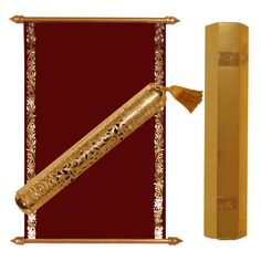 Burgundy Gold Velvet scroll rolled in Engraved Gold case Scroll Wedding Invitations, Scroll Invitation, Menu Cards, Table Cards, Money Envelopes, Sweet Box, Gold Box, Burgundy And Gold, Thank You Cards