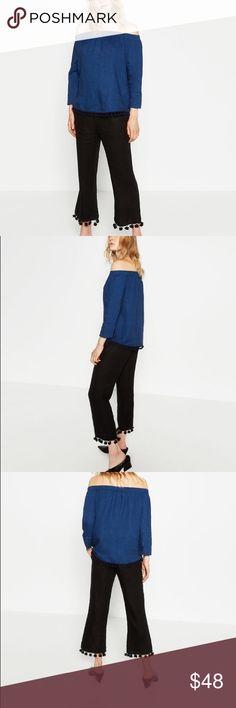 Zara linen tassel top -- XS Love the tassels... off shoulder trend still hot...navy blue color....100% linen Zara Tops