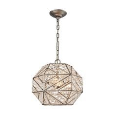 The Constructs series has a hexagon shape and a geometric zig-zag pattern built into each facet. A bead-lined frame and an abundance of crystals exudes a gem-like quality while the Weathered Zinc finish boldy announces the intricate metalwork.