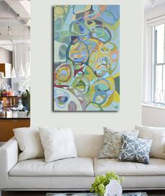Modern Art Canvas Art Original Painting Colorful by Blochs on Etsy