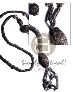 Tassled 4-5mm Coco Heishe Silver Splashing  Brushed Texture Painted Black Nat .wood Beads  Silver Splashing / 28 In. Womens Necklace