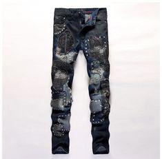 europen American style designer fashion brand Men's Casual Slim jeans luxury black jeans straight hole denim trousers for men