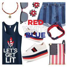 """""""Red White & Blue"""" by stacey-lynne ❤ liked on Polyvore featuring Draper James, Gucci, Yves Saint Laurent, Miriam Haskell, Melissa Odabash and Thom Browne"""