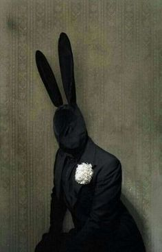 Its a HARE you fools! Sinister Rabbit Sunday best Black Bunny, by Matthu Placek Best Black, Black And White, Tableaux Vivants, Black Bunny, Arte Obscura, Arte Horror, Animal Heads, Mask Design, Macabre