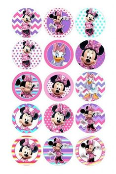 Discover recipes, home ideas, style inspiration and other ideas to try. Bottle Cap Art, Bottle Cap Crafts, Diy Bottle, Bottle Cap Images, Mickey Minnie Mouse, Pink Minnie, Mickey Mouse Birthday, 2nd Birthday, Minnie Cupcakes