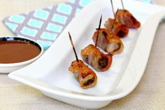 These bacon-wrapped steak appetizers are always popular on game day. If your crowd is large, this recipe is easily doubled or tripled. The recipe can be assembled early in the day then baked just before serving. Score!