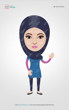 This young Arab female is a part of our Vector Creation Kit: Arabs (men and women) - Traditional and Modern Looks. #graphicmama