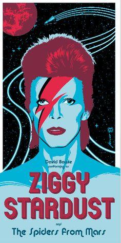 """Ziggy Stardust"" by Brian Miller. 12"" x 24"" Screenprint. Ed of 150. $50"