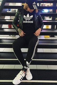 green jacket and adidas superstar fashion