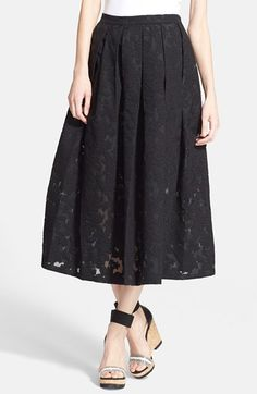 Michael+Kors+Floral+Embroidered+Pleated+Midi+Skirt+available+at+#Nordstrom