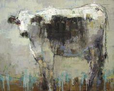 """Barbara Flowers, """"Cow"""", Oil on Canvas, 48x60 - Anne Irwin Fine Art"""