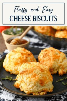 Light and flaky, rich and buttery, these fluffy Cheese Biscuits are a quick way to add a special homemade touch to any meal. Pair the buttermilk drop biscuits with a pot of soup, chili or stew for supper, smother them with sausage gravy for brunch, or add them to the bread basket with your next roasted chicken dinner. There's no rolling or cutting necessary, so a classic Southern cheese biscuits recipe is the perfect last-minute side dish for any day of the week! Crockpot Side Dishes, Vegetarian Side Dishes, Side Dishes Easy, Side Dish Recipes, Bread Recipes, Yummy Recipes, Southern Buttermilk Biscuits, Savoury Biscuits, Cheese Biscuits