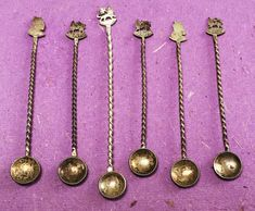 Six Tiny Antique Spoons, with figure and animal details on each spoon, spoons, vintage spoons, silver spoons, antique spoons, silver, tiny