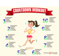 Looking for a workout that can get you a ripped and fit physique?Challenge yourself with countdown work-out and get yourself sweating.